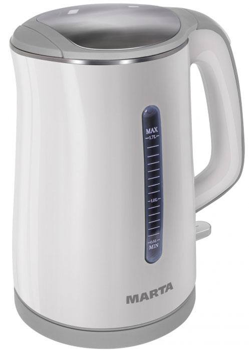 Marta MT-1065, White Grey электрочайникMT-1065Чайник Marta MT-1065 с внутренней колбой из пищевой нержавеющей стали и инновационной конструкцией корпуса. Благодаря двойным стенкам внешний корпус из термостойкого пластика всегда остается холодным, предохраняя от ожогов. Инновационная конструкция чайника обеспечивает высочайшие показатели его энергоэффективности, сохраняя воду горячей в течение длительного времени. Эффект термоса возникает благодаря внутренней колбе из пищевой нержавеющей стали и внешнему корпусу из термостойкого пластика, который, предохраняя от ожогов, всегда остается холодным.Плоское дно внутри чайника очень функционально - легко моется, противостоит накипи, не ржавеет, не коррозирует, а значит, обеспечивает максимально долгий срок службы чайника.Чайник можно снимать и ставить на базу с любой стороны без каких-либо усилий и риска обжечься.Автоматическое отключение при закипании или недостаточном количестве воды обезопасит чайник от преждевременного выхода из строя.