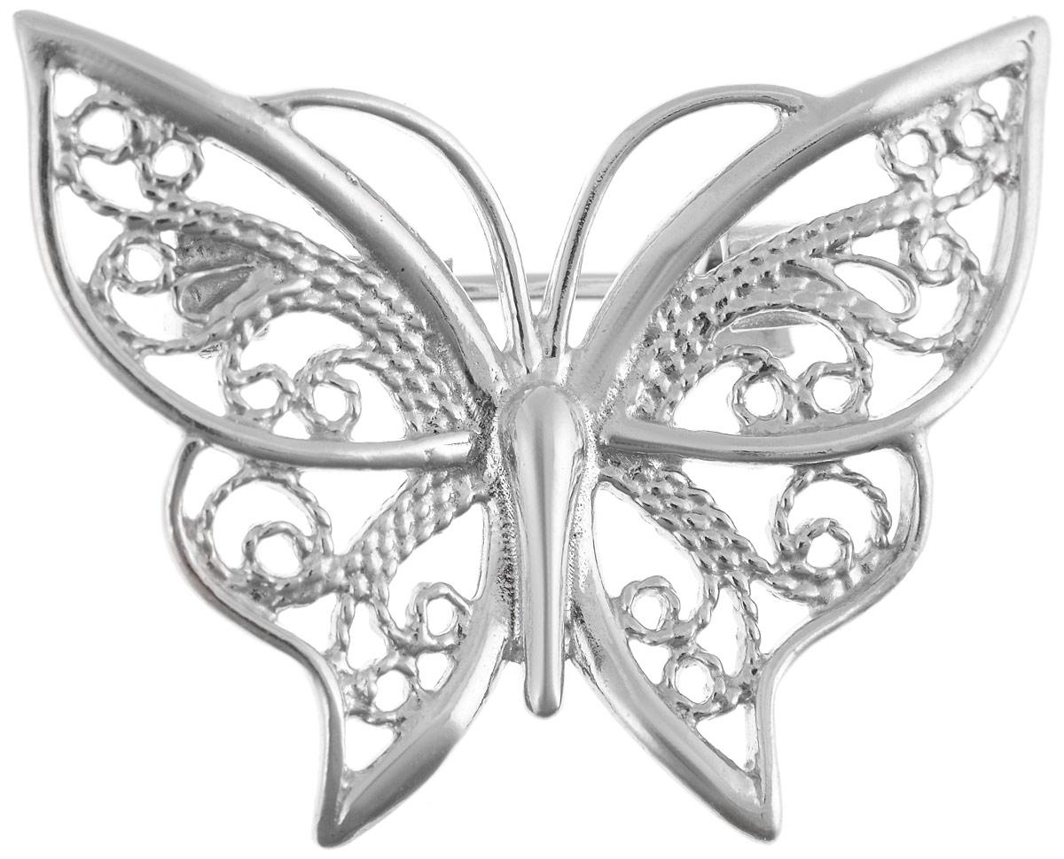 Брошь Vittorio Richi, цвет: серебристый. 91557699vrБрошь-булавкаБрошь Vittorio Richi изготовлена из металла с гальваническим покрытием из золота. Декоративный элемент выполнен в виде бабочки. Изделие застегивается с помощью замка-булавки.
