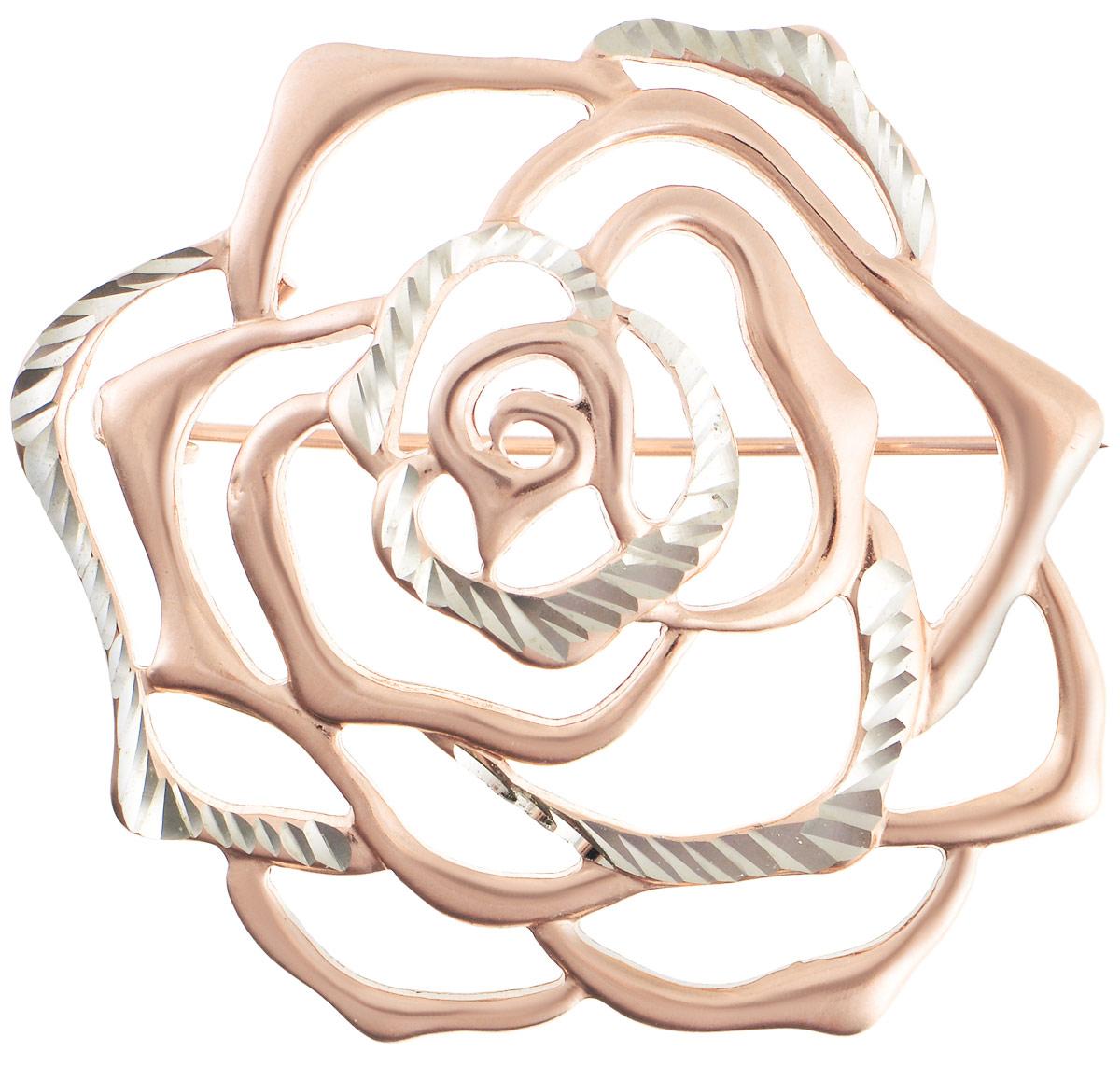 Брошь Vittorio Richi, цвет: золотистый. 91557686vrБрошь-булавкаБрошь Vittorio Richi изготовлена из металла с гальваническим покрытием из золота. Декоративный элемент выполнен в виде розы. Изделие застегивается с помощью замка-булавки.