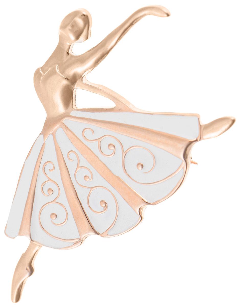 Брошь Vittorio Richi, цвет: золотистый, белый. 91558225vrБрошь-кулонБрошь Vittorio Richi изготовлена из металла с гальваническим покрытием из золота. Декоративный элемент выполнен в виде балерины, оформленной вставкой из эмали. Изделие застегивается с помощью замка-булавки.