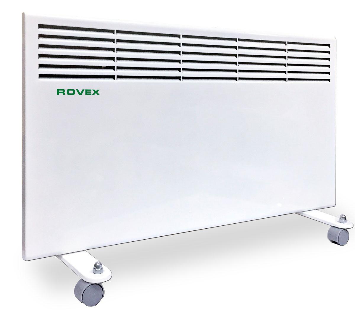 Rovex RHC-1600 конвекторRHC-1600Конвектор Rovex RHC-1600 электрический серии «Omega» представляет собой теплообменник с ТЭНом - электронагревателем, к которому поступает холодный воздух. После происходит процесс нагревания и по стальной трубке выходят теплые потоки воздушных масс. Принцип работы конвектора электрического заключается в безопасном нагревании воздуха, поступающего в прибор посредством конвекции.Конвекторы отопления электрические обладают преимуществами:Высокой производительностью и эффективностью. КПД таких приборов составляет 95%. Конвектор отопления прогревает воздух равномерно и моментально, когда его включили в сеть.Безопасностью. Электрические обогреватели такого типа считаются самыми безопасными. Конвекторная система отопления устроена так, что воздушные массы в теплообменнике постоянно циркулируют и не превышают безопасных 60 °C. Прибор можно использовать даже в детской комнате. А о пожаре и мысль не возникнет! Конвекторный обогреватель автоматически отключается, если его уронить.Малогабаритностью. Устройство может настенным и напольным. В серию Omega входят универсальные приборы, которые возможно разместить и на полу, и на стене.Бесшумной работой, без выделения запахов.Простотой использования. Конвектор электрический с терморегулятором, им можно легко установить нужную температуру.Беспроблемной установкой. Конвектор электрический настенный можно сразу эксплуатировать после покупки.Невысокой стоимостью. Многие решаются купить конвектор еще потому, что радует его цена, по сравнению с котлом или радиатором.