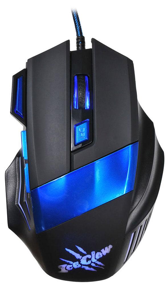 Oklick 775G Ice Claw, Black Blue игровая мышь945847Oklick 775G Ice Claw - это игровая проводная мышь черно-синего цвета с 7-ю кнопками, колесом прокрутки и интерфейсом подключения USB.Модель выделяется эргономичным асимметричным корпусом, идеально сидящим в правой руке. Дополнительный комфорт обеспечивает регулируемая точность сенсора, разрешение которого варьируется до 2400 dpi.Надежный канал связи гарантирует моментальную реакцию на каждое действие, что особо важно для динамичных игр. Боковые клавиши позволяют быстро перемещаться по страницам в браузере, назад и вперед.