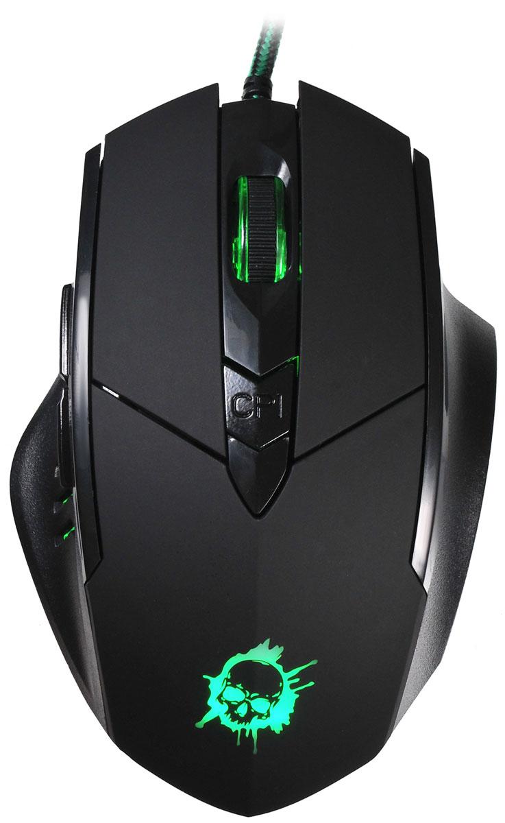 Oklick 815G Inferno, Black игровая мышь351860Oklick 815G Inferno - это игровая проводная мышь черно цвета с 6-ю кнопками, колесом прокрутки и интерфейсом подключения USB.Эргономичный корпус, адаптированный под правую руку, крепко сидит под пальцами и не скользит. Дополнительный комфорт обеспечивает регулируемая точность сенсора, разрешение которого варьируется до 2400 dpi.Надежный канал связи гарантирует моментальную реакцию на каждое действие, что особо важно для динамичных игр. Боковые клавиши позволяют быстро перемещаться по страницам в браузере, назад и вперед.