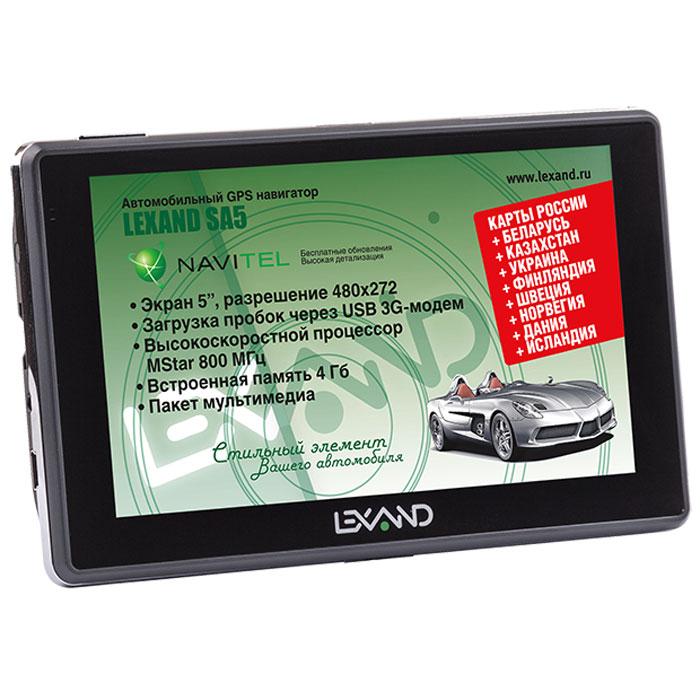 Lexand SA5, Black навигаторSA5 5Lexand SA5 - классический GPS навигатор на Windows СЕ 6.0 с сенсорным 5-ти дюймовым экраном, мощным процессором MStar MSB2531 (800 МГц) и расширенной картографией Навител (9 стран) с бессрочной лицензией и бесплатным обновлением. Предусмотрена возможность подключения внешних 3G USB модемов построения маршрутов с учетом пробок.Все модели серии SA5 могут выходить в Интернет для браузинга. загрузки данных о пробках и работы со встроенными в навигационные программы онлайновыми сервисами с помощью внешнего ЗG-модема, подключенного через USB-хост. Сегодня это особенно актуально, учитывая, что различные возможности, связанные с Интернетом, есть в абсолютном большинстве навигационных пакетов.Режим Hands-FreeUSB-хостЕмкость аккумулятора: 1100 мАч