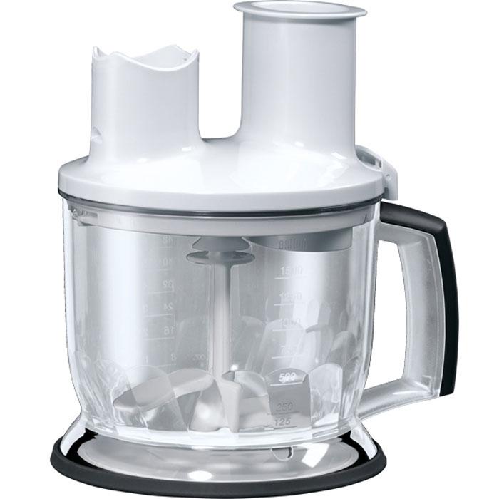 Braun MQ70 Food Processor Att MQ5 Series, White емкость для блендераAX22110005Дополнительный аксессуар все в одном Braun MQ70 Food Processor Att MQ5 Series готов помочь вам справиться с повседневной работой на кухне, сэкономить место и приготовить здоровое питание без особых усилий.Насадка-кухонный комбайн объемом 1,5 л идет в комплекте с 2-мя вставками для терки и шинковки, насадки для нарезки ломтиками.Он совместим со всеми блендерами браун с металлической ногой. Не подходит к блендерам с пластиковой ногой и беспроводным блендерам.