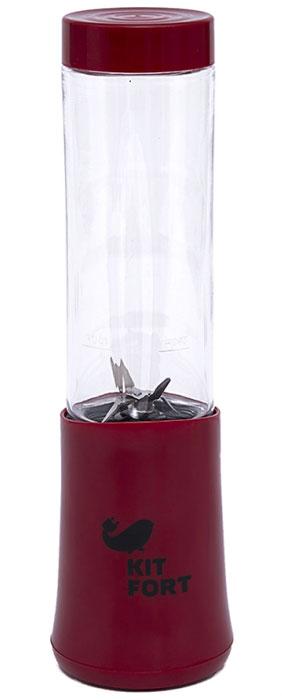 Kitfort КТ-1311-4 Shake & Take, Red блендерКТ-1311-4Блендер Kitfort КТ-1311 Shake & Take предназначен для измельчения, смешивания, взбивания,гомогенизации, замеса жидкого теста, смешивания коктейлей, колки льда, приготовления смузи, протеиновых смесей и детского питания.Преимуществами блендера являются привлекательный спортивный стиль и удобство в использовании, компактные размеры при большой мощности, бутылка с крышкой и нож из нержавеющей стали.Включение блендера производится нажатием на бутылку, установленную на моторный блок. После приготовления смеси нет необходимости переливать содержимое: бутылку можно закрыть навинчивающейся крышкой, после чего она превращается в удобный контейнер для хранения и переноски приготовленной смеси. Вы можете поместить бутылку в холодильник или взять с собой в спортзал. Бутылка влезает в подстаканник автомобиля.