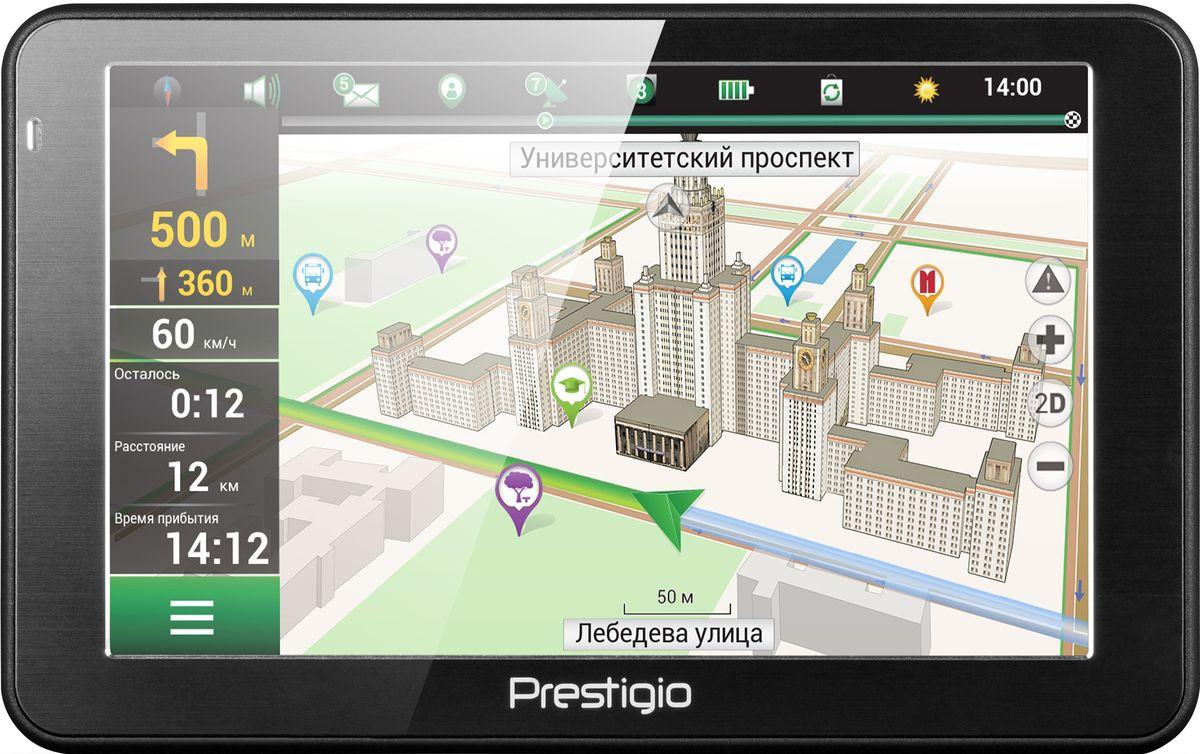 Prestigio GeoVision 5068, Black автомобильный навигаторPGPS5068CIS04GBNVС Prestigio GeoVision 5068 вам не придется идти на компромисс между ценой, функциональностью и стильным видом. Карты Navitel, базы достопримечательностей, 3D-отображение развязок, и подсказки работают отлично благодаря мощному процессору на 800 МГц, в то время как стильный дизайн устройства хорошо впишется в интерьер автомобиля любого класса.Получайте все выгоды 3D-карт и хорошо настроенной навигации от Navitel. Поиск места назначения становится легкой задачей благодаря визуализации вашего окружения на устройстве. Не пропустить нужный поворот вам помогут реалистичные изображения развязок и подсказки по полосам движения.Купив Prestigio Geovision 5068, вы получаете настоящего гида! Миллионы объектов - туристические места, автозаправочные станции, гостиницы и многое другое уже заботливо установлена в вашем новом устройстве.На 5-дюймовом экране (800x480) удобно наблюдать за дорогой и легко вводить адреса. С помощью удобной функции интеллектуального поиска вы можете выполнить поиск необходимого места не только по адресу, но и по координатам, перекресткам, местах поблизости или предыдущим поисковым запросам.Geovision 5068 оснащен бортовым компьютером, который выводит текущую скорость вместе с ограничением скорости и предполагаемым временем прибытия в пункт назначения.Навигатор предупреждает вас о ближайших радарах, лежачих полицейских и камерах видеозаписи. Эти функции обеспечивает встроенная база данных, которую можно бесплатно обновлять в Интернете.Декоративная металлическая рамка навигатора подчеркивает современный эргономичный внешний вид устройства.Навигатор Prestigio GeoVision 5068 имеет бесплатное обновление карт Белоруссии, России, Украины, Казахстана, Финляндии, Швеции, Норвегии, Дании, Исландии.Процессор: MStar MSB2531A Cortex A7, 800 МГцОбъем установленной оперативной памяти: 128 МБМаксимальный объем карты памяти: 32 ГБ Операционная система: Microsoft Windows CE 6.0Ёмкость аккумулятора: 950