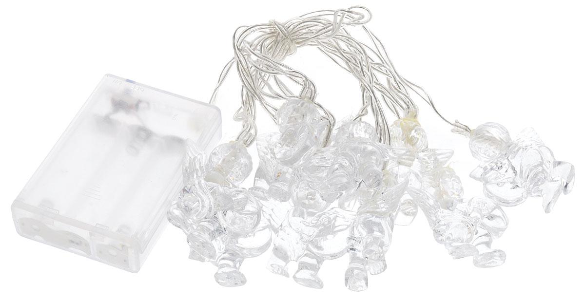 Электрогирлянда B&H Ангелы, 10 RGB светодиодов, 1,35 мBH0423Электрогирлянда B&H Ангелы предназначена для декоративного внутреннего освещения. Изделие представляет собой гибкий провод, на котором расположено 10 RGB (меняющих цвет) светодиодов с декоративными насадками в форме ангелов. Питание от батареек позволяет использовать гирлянду автономно. Создайте в своем доме атмосферу веселья и радости, украшая новогоднюю елку яркими светодиодными гирляндами. Расстояние между светодиодами: 15 см. Размер лампы: 4,5 х 4 х 2 см. Гирлянда работает от 3 батареек типа АА (в комплект не входят).
