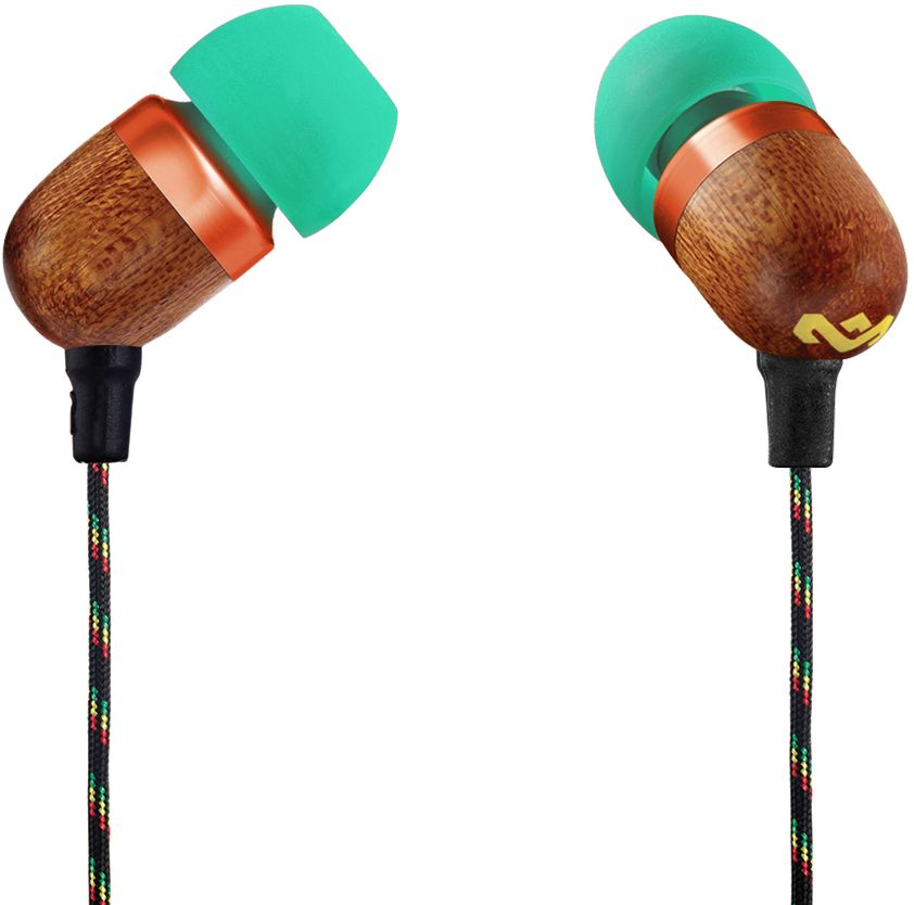 House of Marley Smile Jamaica Rasta наушникиEM-JE041-RAУдобные наушники House of Marley Smile Jamaica с легким дизайном изготовлены из экологически чистых материалов. Корпус наушников выполнен из бамбука с алюминиевой вставкой. Мощные 9-мм драйверы позволяют насладиться полноценным живым звучанием с отличной шумоизоляцией.Тканевая оплетка повышает надежность кабеля, помогает избежать спутывания и снижает микрофонный шум. Для любителей слушать музыку со смартфона кабель оснащен однокнопочным пультом, благодаря которому устройство не нужно доставать из кармана, чтобы поставить на паузу или ответить на звонок.