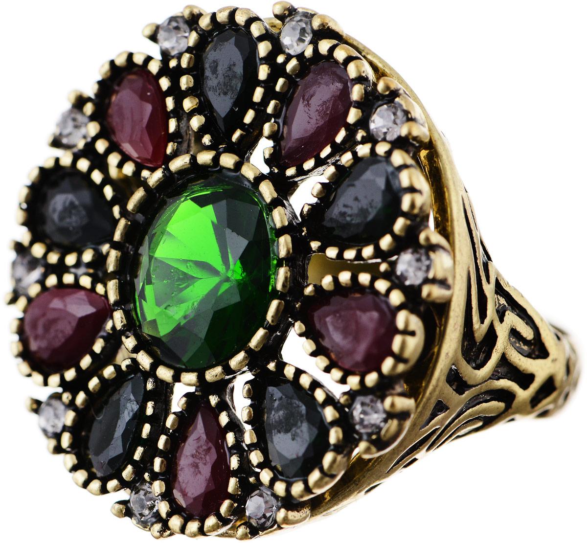 Кольцо Bradex Аннабель, цвет: золотой, зеленый, бордовый. AS 0017. Размер 19Коктейльное кольцоКольцо Bradex Аннабель выполнено из металлического сплава. Декоративный элемент выполнен в круглой форме и украшен вставками из искусственных камней и страз.
