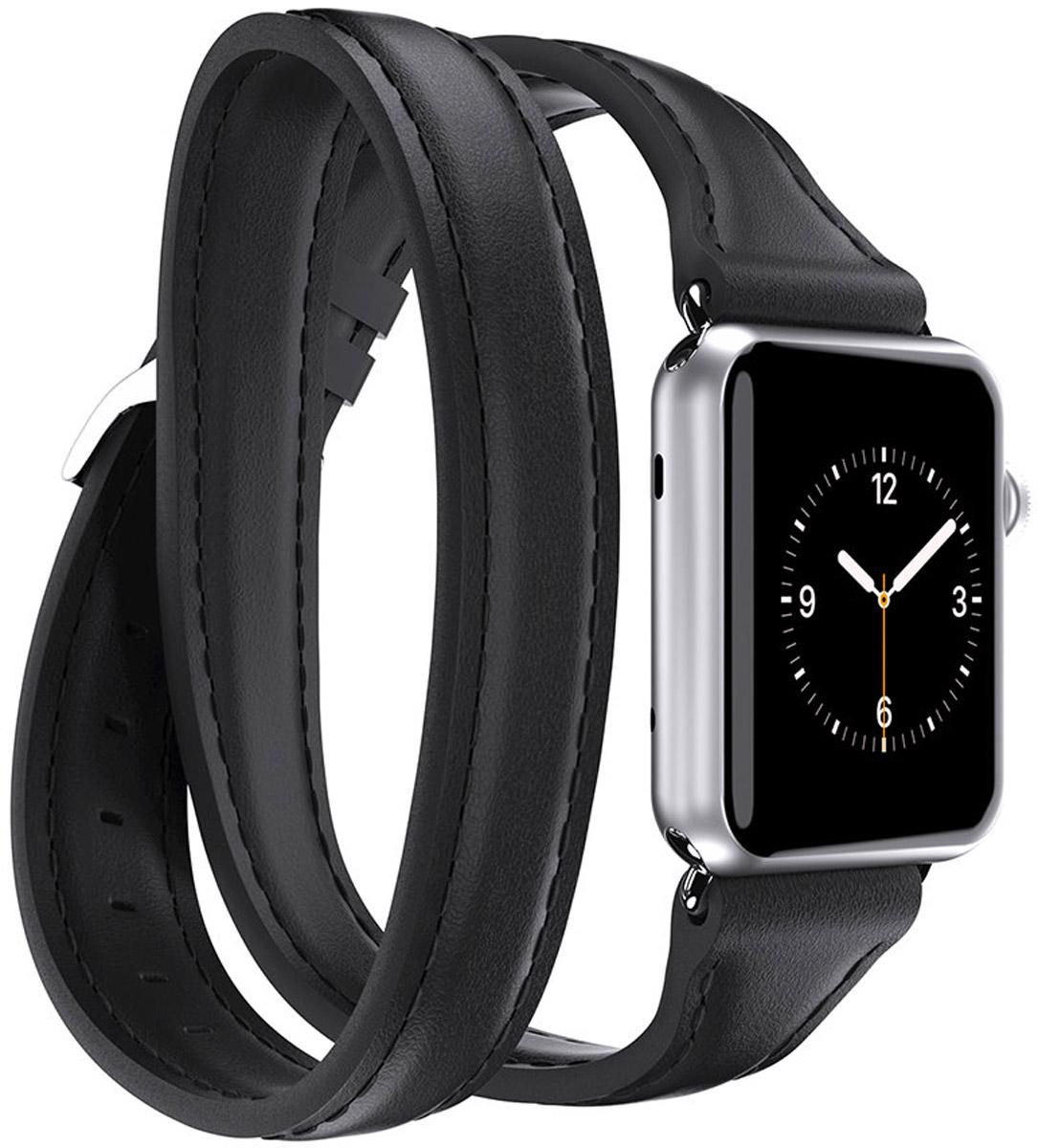 Griffin Uptown Double-Wrap Band, Black ремешок для Apple Watch (38 мм)GB42407Griffin Uptown Double-Wrap Band - стильный ремешок для Apple Watch 38 мм, изготовленный из качественной кожи. Аксессуар отлично дополняет оригинальный дизайн смарт-часов, а также комфортно и надежно сидит на вашем запястье.