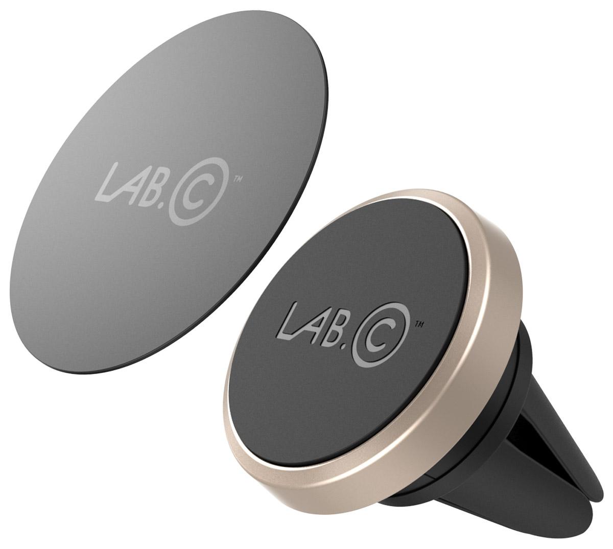 LAB.C Magnetic Air Vent Car Mount, Gold автомобильный держательLABC-597-GDУниверсальный автомобильный магнитный держатель LAB.C Magnetic Air Vent Car Mount прост в использовании. Крепится на вентиляционные отверстия и удерживает устройства при помощи мощного неодимового магнита. В комплекте специальная металлическая пластина, которая подойдет на любое устройство с гладкой плоской поверхностью, например: смартфоны, GPS-навигаторы, MP3-плееры и другое.