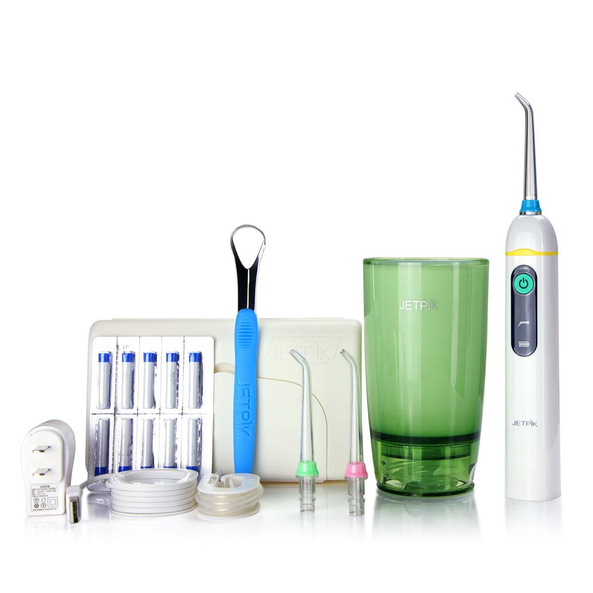 Ирригатор полости рта Jetpik JP50-EliteJA05-103-02Сочетает в себе очищающее действие зубной нити (смарт-флосса), воды и воздуха. Легкий в использовании, очень эффективный и экономит время Здоровые десны и чистые зубы уже через 7 дней. Клинически доказано, что удаляет до 99% зубного налета. Инновационная комбинация давления воды и пульсирующей флосс- системы (20-25 колебания в сек) удаляет остатки пищи глубже и быстрее, между зубами и ниже линии десен, в труднодоступных местах вокруг брекетов, между зубными имплантатами и коронками. Пульсирующая под давлением воды смарт флосс- система создает дополнительную силу трения. Лабораторно доказано что JETPIK на 240% более эффективно удаляет зубной налет и биопленку, чем обычные водные ирригаторы. Эффективный, безопасный и простой в использовании. Идеально подходит для тех, кто с имплантатами, коронками, брекет-системами, мостовидными протезами, пародонтальными карманами. Портативный и компактный - по размерам не больше электрической зубной щетки, благодаря встроенной литиевой батарее заряжается как мобильный телефон через базовое зарядное устройство или USB разъем .Как жидкость для ирригации можно использовать не только воду, но и лечебные растворы. Удобный специальный стакан JETPIK или любая емкость подойдет как резервуар, благодаря портативной силиконовой клипсе JETPIK, которая идет в комплекте с набором. Мощность 200-550 кПа.