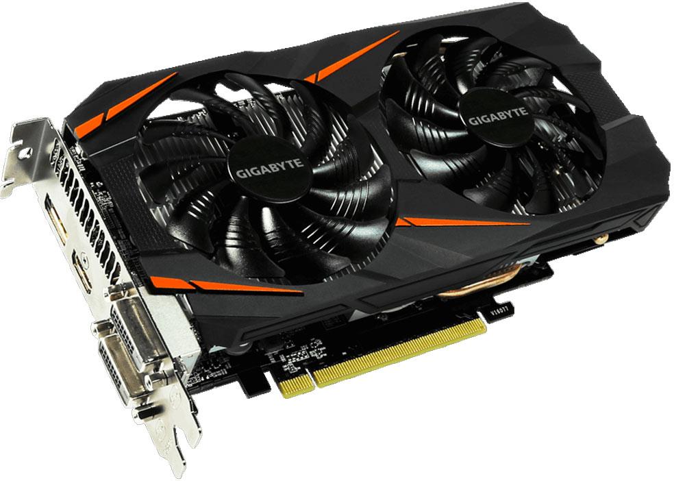 Gigabyte GeForce GTX 1060 Windforce OC 6GB видеокартаGV-N1060WF2OC-6GDБудьте готовы к игровым сражениям с Gigabyte GeForce GTX 1060 Windforce OC. Эта видеокарта обеспечивает высокую производительность, добавляя продвинутые игровые технологии (NVIDIA GameWorks) и самую продвинутую игровую экосистему (GeForce Experience).Реализовано с помощью новой архитектуры NVIDIA Pascal, Geforce GTX 1060 - квантовый скачок в эффективности производительности и энергопотребления.Технология NVIDIA GameWorks поддерживает последние требования современных мониторов, включая VR, мониторы с ультра высоким разрешением, также обеспечивает плавный игровой процесс, кинематографический опыт, возможность захвата изображения 360 даже в VR. Откройте для себя новое поколение VR, с низким показателем задержки, наушниками последнего поколения, благодаря технологии NVIDIA VRWorks. VR аудио (звуковые эффекты), реалистичная графика и физика предметов, позволяют вам прочувствовать и услышать каждый момент.Система охлаждения WINDFORCE 2X оснащена двумя вентиляторами 90 мм с уникальным дизайном лопастей, двумя медными композитными теплотрубками, технологией прямого контакта. Все это позволяет получить эффективный уровень теплорассеивания для высокопроизводительной системы с низкой температурой.Воздушный поток оптимизирован с помощью разнонаправленного вращения вентиляторов, которое позволяет уменьшить турбулентность и эффективно отводить тепло. Воздушный поток эффективно отводится от радиатора с помощью вентиляторов, лопасти которых имеют специальные насечки и форму. Система охлаждения WINDFORCE 3X, состоящая из трех медных композитных трубок, которые напрямую отводят тепло от GPU, специальной архитектуры пластинок радиатора, уникального дизайна лопастей вентилятора. Благодаря этим характеристикам удается достичь высокого уровня отвода тепла, при высоких нагрузках и низкой температуре.Используется полу-пассивный режим работы, вентиляторы останавливают свою работу, если температура чипа невысокая, или нет 