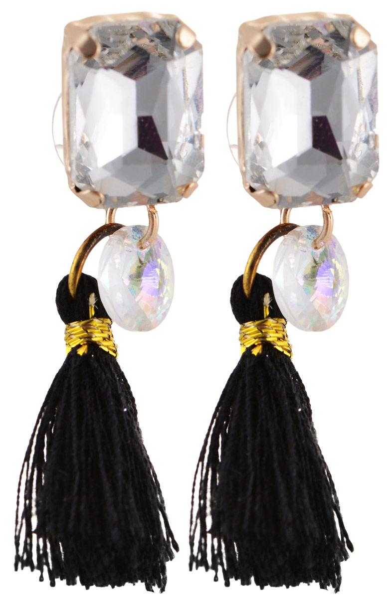 Серьги Bradex Танго, цвет: золотой, черный, серебряный. AS 0064Пуссеты (гвоздики)Серьги Bradex Танго изготовлены из металлического сплава. Декоративный элемент оформлен вставкой из кристалла и подвеской в виде текстильной кисточки. Изделие застегивается на замок-гвоздик с заглушкой.