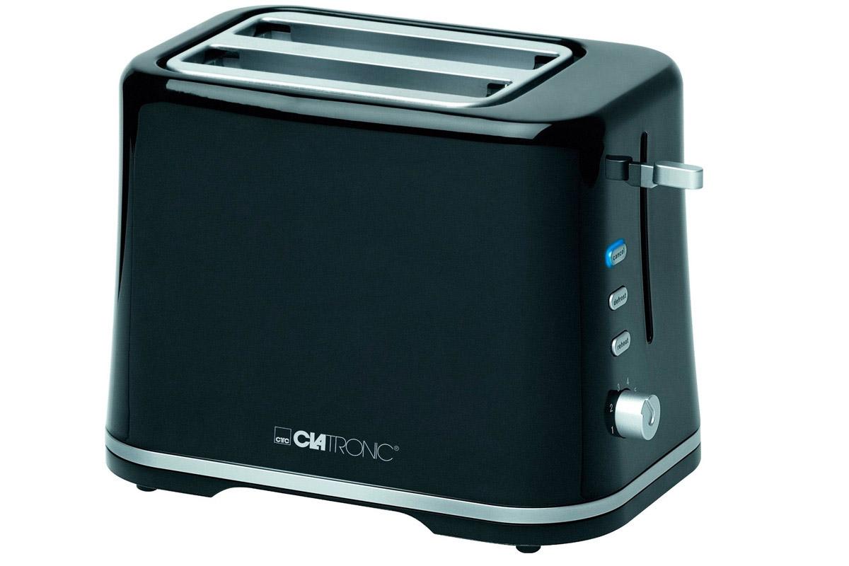 Clatronic TA 3554, Black Silver тостерTA 3554 schwarz-silberТостер Clatronic TA 3554 представляет собой сочетание удобства, функциональности и элегантного внешнего вида. Мощность в 870 Вт, простота управления и быстрое приготовление тостов.Компактное и легкое в управлении устройство позволит приготовить вкуснейшие тосты за считанные минуты стразу на двоих. Вы можете в любой момент остановить процесс поджаривания, просто нажав на соответствующую кнопку. Ухаживать за тостером легко и приятно благодаря наличию поддона для крошек.
