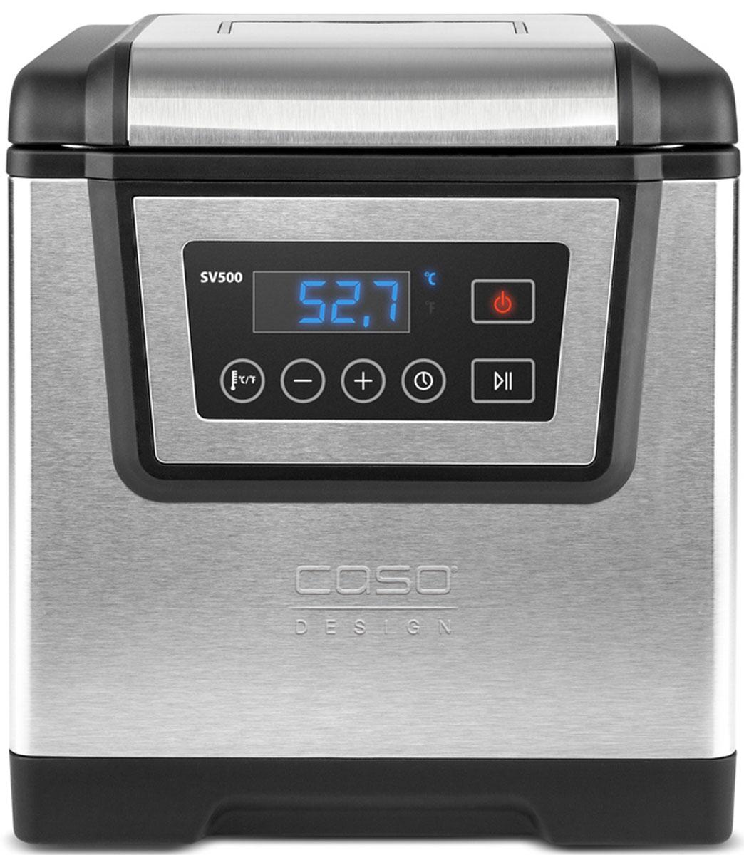 CASO SV 500 су видSV 500Аппарат для готовки по технологии су-вид CASO SV 500 с корпусом из нержавеющей стали оборудован профессиональной системой циркуляции воды, служащей для очень точного регулирования температуры приготовления. Устройство обеспечивает идеальный вакуум для приготовления до 4 порций пищи на водяной бане. Точность измерения температуры регулируется с шагом 0,1°C в диапазоне от 25°C - до 85°C. Аппарат имеет простое управление с сенсорным дисплеем, функцию быстрого нагрева воды. Поверхности CASO SV 900 легко чистятся. Упакуйте ваш продукт в вакуумный пакет и готовьте!