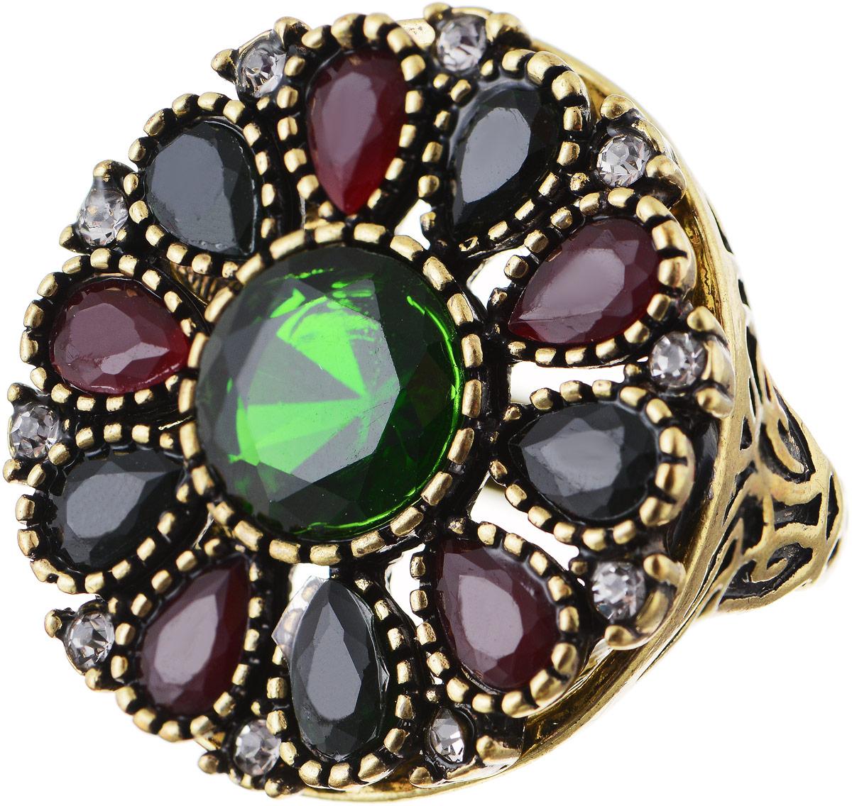 Кольцо Bradex Аннабель, цвет: золотой, зеленый, бордовый. AS 0017. Размер 17Коктейльное кольцоКольцо Bradex Аннабель выполнено из металлического сплава. Декоративный элемент выполнен в круглой форме и украшен вставками из искусственных камней и страз.