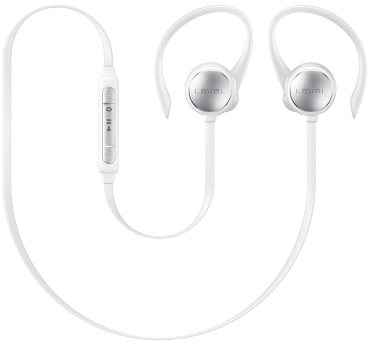 Samsung EO-BG930 Level Active, White наушникиEO-BG930CWEGRUС наушниками Samsung Level Active никакой посторонний шум не помешает слушать музыку. Гарнитура автоматически компенсирует уровень нежелательного шума до -20 дБ. Беспроводная конструкция делает ношение максимально комфортным. Они снабжены гибкими держателями и дужками. В комплект входят ушные вкладыши трех разных размеров. Samsung Level Active обеспечивают качественный звук студийного качества на всем диапазоне частот.Наушники имеют защитное нанопокрытие и подходят для активных людей. Покрытие предохраняет гарнитуру от влаги, обеспечивая комфорт при занятиях спортом. Связь с устройствами происходит при помощи Bluetooth. Так с экрана смартфона можно управлять настройками звука и воспроизведением. Приложение Samsung Level расширяет возможности гарнитуры – позволяет получать уведомления при помощи звуковых и вибрационных сигналов, а также контролировать физическое состояние во время тренировок. Синхронизация со смартфоном и приложениями S Health и секундомером поможет в достижении спортивных целей.