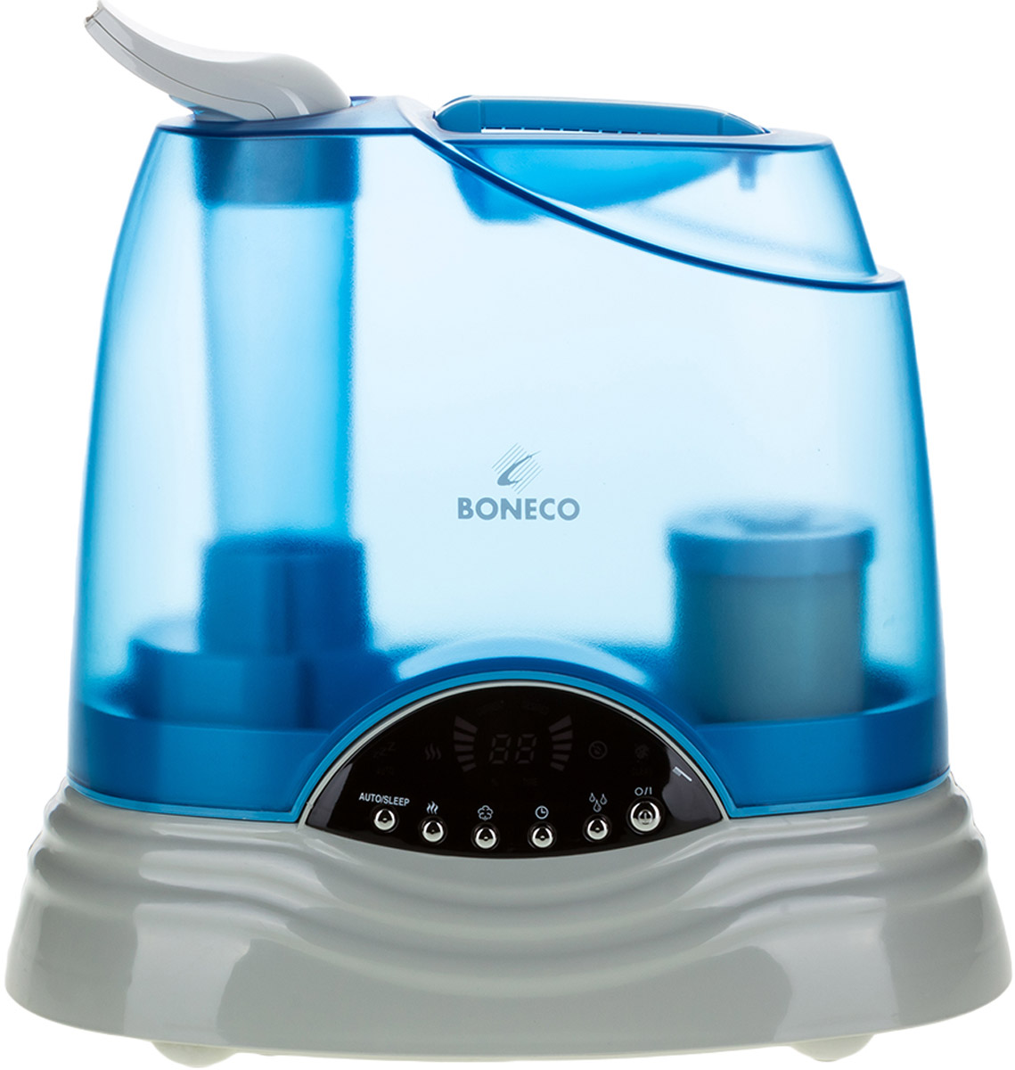Boneco U7135 ультразвуковой увлажнитель воздухаНС-1082224Ультразвуковой увлажнитель воздуха Boneco U7135 — прибор с зеркальным дисплеем и электронным управлением, удачно сочетающий 2 вида увлажнения – «холодный» и «теплый пар». Увлажнитель Boneco U7135 экономичен с точки зрения расхода электроэнергии, работает с низким уровнем шума и удобен в управлении. К тому же, прибор оборудован встроенным гигростатом, который поддерживает заданный уровень влажности в помещении.Информативный ЖК-дисплей прибора значительно облегчит его эксплуатацию, отображая режим работы, текущую и заданную влажность в помещении. Сменный фильтр-картридж с ионообменной смолой смягчает и обеззараживает воду, а функция нагрева воды (пастеризация) гарантирует гигиенически чистый пар и повышает эффективность увлажнения. Увлажнитель Boneco U7135 самостоятельно контролирует «собственное здоровье»: в увлажнителе предусмотрен датчик загрязнения, который загорается в случае необходимости почистить прибор.
