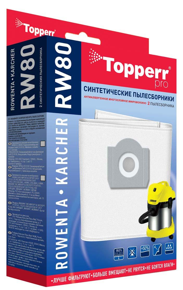 Topperr RW 80 комплект пылесборников для пылесосов Rowenta, Karcher, 2 штRW 80Синтетические пылесборники Topperr RW 80 подходят для пылесосов Rowenta, Bosch, Siemens, Karcher, Hoover, Philips, DeLonghi, Thomas, BORK. Произведены из нетканого фильтрующего материала. Данный материал не боится повышенной влажности и обладает большой прочностью, главное качество – способность задерживать 99,5% пыли. Регулярное использование синтетических мешков-пылесборников гарантирует не только очищение воздуха от пыли и аллергенных микроорганизмов, но и чистоту внутренних поверхностей пылесоса.Подходят для пылесосов:Rowenta: Bully, Super Bully 5 in 1, Super Bully 6 in 1, Turbo Bully, Clean Wash, Collecto, Hobby Vac 1000, Multicraft, RB08, RB14, RB50-RB70, RB500-RB526, RB602, RB700, RB720, RB800-RB860, RD200, RD215, RH05, RH10-12, RU065, RU070, RU071, RU10 -RU110, RU200, RU600-RU699Thomas: Bio Vac 20, Bravo 20, Compact 20, Compact 30, Inox 1220, Inox 1520 Plus, Inox 20 Professional, Inox 30 Professional, Inox 45 S Professional, Junior 1220, Junior 1230, Multisauger, Power Edition 1520, Power Edition 1530, Power Pack 1620, Powerboy 786 B, Powerboy 1218, Profil 1320, Profil 1330, Silence 1120, Silence 1130, Silverstar 1220, Silverstar 1235, Studio 1231, Vario 20 S, Super 30BORK: VC 9509, VC 9618, VC 9710, VC 9716, VC 9718Bosch: Aqua Clean, BMS 130 Amphibixx, BMS 1000-BMS 1999, BMS 2000-BMS 2299Siemens: DRY&MORE VM 10000-VM 10999, VM 15000-VM 15999, VM 30000-VM 39999Karcher: MV 3 Dakar, MV 3 P, MV 3 Premium, SE 4001, SE 4002, WD 3.800 M eco!ogic, A 2701 TE, K 2701, K 2731 TEHoover: Jetnwash S 6145Philips: HR 6651-HR 6665 Super, HR 6675 TrivacDeLonghi: M 31 Multivac, M 31 Penta, Penta Electronic, Penta VAP, XWDA 150 DarelЗаменяют оригинальные пылесборники: ZR-815, ZR-81, Typ X, BMZ 21A, VZ 92351, H31, 6.904-051, 6.904-263, 787101