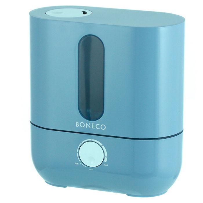 Boneco U201A, Blue ультразвуковой увлажнитель воздухаНС-1031212Ультразвуковой увлажнитель воздуха Boneco U201A отличается высокой производительностью увлажнения (300 г/час) при низком потреблении электроэнергии (20 Вт). Модель работает очень тихо даже на максимальной скорости увлажнения, поэтому не потревожит вас во время сна или работы. В Boneco U201A предусмотрена синяя подсветка - ночник (окно резервуара с водой). При необходимости подсветку можно отключить. Элегантный дизайн прибора вместе с подсветкой станет стильным и полезным дополнением к интерьеру.Внутри увлажнителя установлена мембрана, которая после включения прибора начинает вибрировать в ультразвуковом диапазоне частот. В результате колебаний на поверхности воды образуется туман (эмульсия из мелких капель воды и воздуха). Вентилятор, установленный внутри увлажнителя выдувает образовавшееся облако через распылитель в помещение (капли воды имеют сверх малый объем, поэтому они моментально превращаются в пар, и таким образом, насыщают воздух влагой).Для предотвращения белого налета на мебели в Boneco U201A предусмотрен сменный фильтр-картридж с ионообменной смолой. Также увлажнитель оснащен ионизирующим серебряным стержнем Ionic Silver Stick (ISS), который предотвращает размножение бактерий и цветение воды в поддоне.В данной модели предусмотрена возможность ароматизации помещения. Ароматерапия признана многими врачами в качестве эффективного способа улучшения самочувствия. Грамотно организованный ароматерапевтический процесс улучшает настроение, укрепляет иммунитет и в целом способствует более позитивному восприятию жизни.Чтобы сделать процесс эксплуатации увлажнителя максимально простым и использовать водопроводную воду для увлажнения, во всех ультразвуковых увлажнителях Boneco предусмотрен фильтр - картридж с ионообменной смолой, срок службы которого 3-4 месяца (в зависимости от качества водопроводной воды и частоты использования прибора).Синяя подсветка резервуараИндикатор низкого уровня водыРегулятор ин
