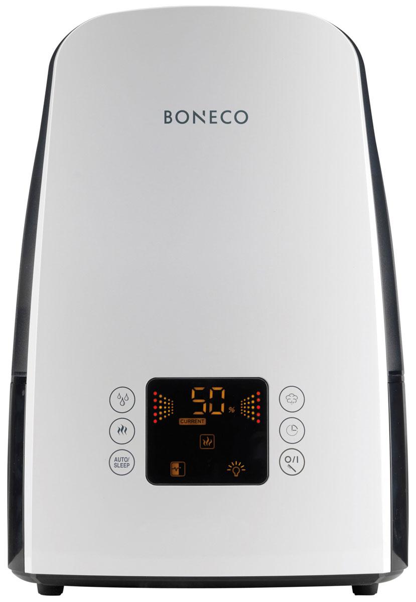 Boneco U650, Whiteультразвуковой увлажнитель воздухаНС-1077066Увлажнитель Boneco U650 воплотил в себе самые современные разработки в области микроклимата. Модный дизайн и популярные цвета, сенсорное управление, информационный дисплей и максимальный функционал делают увлажнитель Boneco U650 оптимальным прибором для дома и офиса. Благодаря встроенному электронному гигростату и датчику температуры определяется необходимый уровень влажности в зависимости от температуры, который будет автоматически поддерживаться в течение заданного периода времени (до 8 часов) или в непрерывном режиме. Именно так действует функция ITC (Intelligent Temperature Compensation) обеспечивая 100%-ю точность поддержания здорового микроклимата.Отличительной особенностью Boneco U650 является функция теплого пара, с помощью которой вода, прежде чем попасть на ультразвуковую мембрану, подвергается длительному нагреву до 80°С (пастеризация). В результате вода обеззараживается от бактерий, а производительность увлажнителя возрастает до 550 г/час. Новое решение коснулось и мембраны. Благодаря специальному покрытию titanium nitride поверхность мембраны приобретает характерный золотой оттенок и устойчивую защиту к физическим и химическим повреждениям.Прибор оснащен современным электронным блоком с сенсорным управлением i-touch, каждое нажатие кнопки сопровождается ненавязчивым звуковым сопровождением, что делает взаимодействие с прибором еще более простым и понятным.Чтобы сделать процесс эксплуатации увлажнителя максимально простым и использовать водопроводную воду для увлажнения, во всех ультразвуковых увлажнителях Boneco предусмотрен фильтр - картридж с ионообменной смолой, срок службы которого 3-4 месяца (в зависимости от качества водопроводной воды и частоты использования прибора).Струйный распылитель воды (сплиттер)Встроенный электронный гигростат (регулятор влажности)Регулятор интенсивности увлажненияИндикатор низкого уровня водыИндикатор чистки прибораИндикатор яркости дисплея