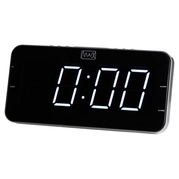 MAX CR-2904W, Silver White радиобудильник4630011250550Радио-будильник MAX CR-2904W оснащен большим дисплеем, на котором отображается основная информация.Дисплей показывает крупные цифры (высота - 4,5 сантиметра), подсвечиваемые в ночное время. Яркость свечения регулируется кнопками на корпусе часов.Радио-часы способны запомнить и использовать два режима настройки будильника. Сигнал будильника считывается из внутренней памяти часов (зуммер) или из эфира FM/AМ радиостанций.MAX CR-2904W работает в режиме радиоприёмника, принимающего сигналы в FM/AМ диапазоне. В память устройства можно записать до 20 настроек на выбранные радиостанции.Радио-будильник может работать в режиме Сон, предполагающем автоматическое прерывание трансляции по истечению заданного периода времени (до 120 минут). Пользователь может засыпать под радиопередачу, не заботясь о выключении приёмника.