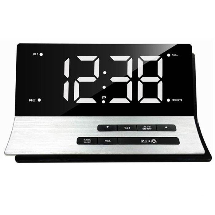 MAX CR-2907W, Silver White радиобудильник4630011250789Радио-будильник MAX CR-2907W выполнен в оригинальном форм-факторе. Он займет достойное место на столе жилой комнаты или офиса.В качестве сигнала можно использовать как зуммер, так и радио. Сигнал сработавшего будильника постепенно делается громче, поэтому владелец гарантированно его услышит.Радио-часы могут принимать передачи FM-радиостанций, предусмотрена возможность внести до 10 радиостанций в память устройства.В данной модели предусмотрена функция сна и возможность программируемого отключения через 5-60 минут, что позволяет радио-часам экономить энергию батарейки.