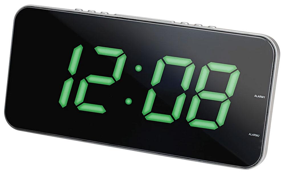 MAX CR-2909, Silver Green радиобудильник4630011250765Радио-будильник MAX CR-2909 оснащен большим дисплеем, на котором отображается основная информация.Устройство оснащено цифровым тюнером, принимает радиопередачи в диапазоне FM/AM. В его память можно внести до 20 любимых радиостанций.Точное время выводится на цифровой дисплей. Крупные светящиеся символы можно разглядеть издалека, в том числе при слабом освещении.Радио-часы выполнены в современном дизайне, лаконичном и функциональном. Они хорошо вписываются в интерьер квартиры или офиса.