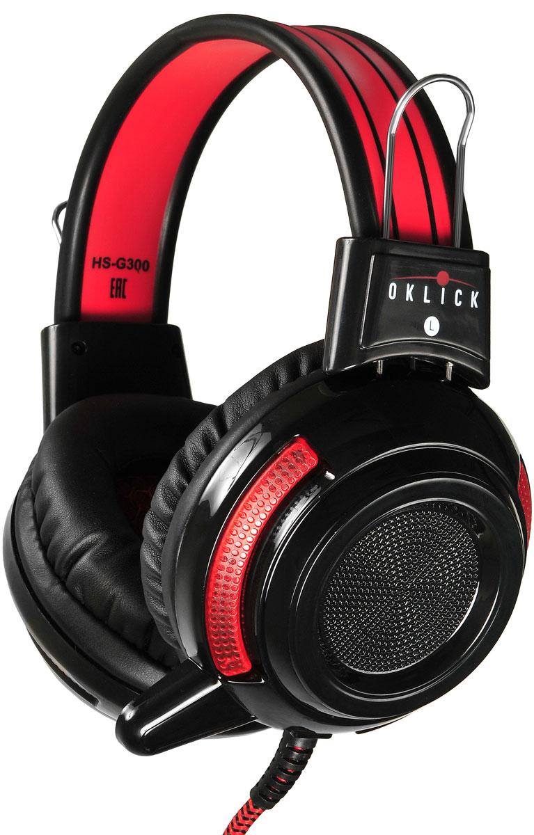 Oklick HS-G300, Black Red игровые наушники337457Oklick представляет игровую гарнитуру HS-G300 Armageddon. Новинка относится к гарнитурам закрытого типа, обладает встроенным микрофоном, регулируемым изголовьем, мягкими и удобными амбушюрами. Модель выполнена в оригинальном дизайне и обладает всеми возможностями и характеристиками, удовлетворяющими потребности любителей самых разнообразных игровых жанров. Чувствительность микрофона: 34 дБ