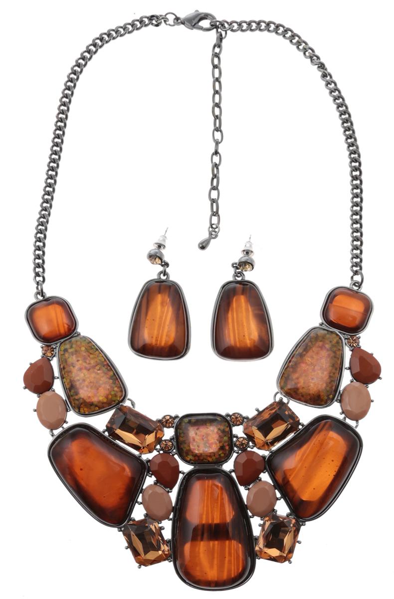Комплект Мокко: ожерелье и серьги-пусеты от D.Mari. Ювелирный пластик, золотистые кристаллы, бижутерный сплав серебряного тона. ГонконгСерьги с подвескамиКомплект Мокко: ожерелье и серьги-пусеты от D.Mari.Ювелирный пластик, разноцветные кристаллы , бижутерный сплав серебряного тона.Гонконг.Размер:Ожерелье - полная длина 37-46 см, размер регулируется за счет застежки-цепочки.Серьги - 4 х 2 см.