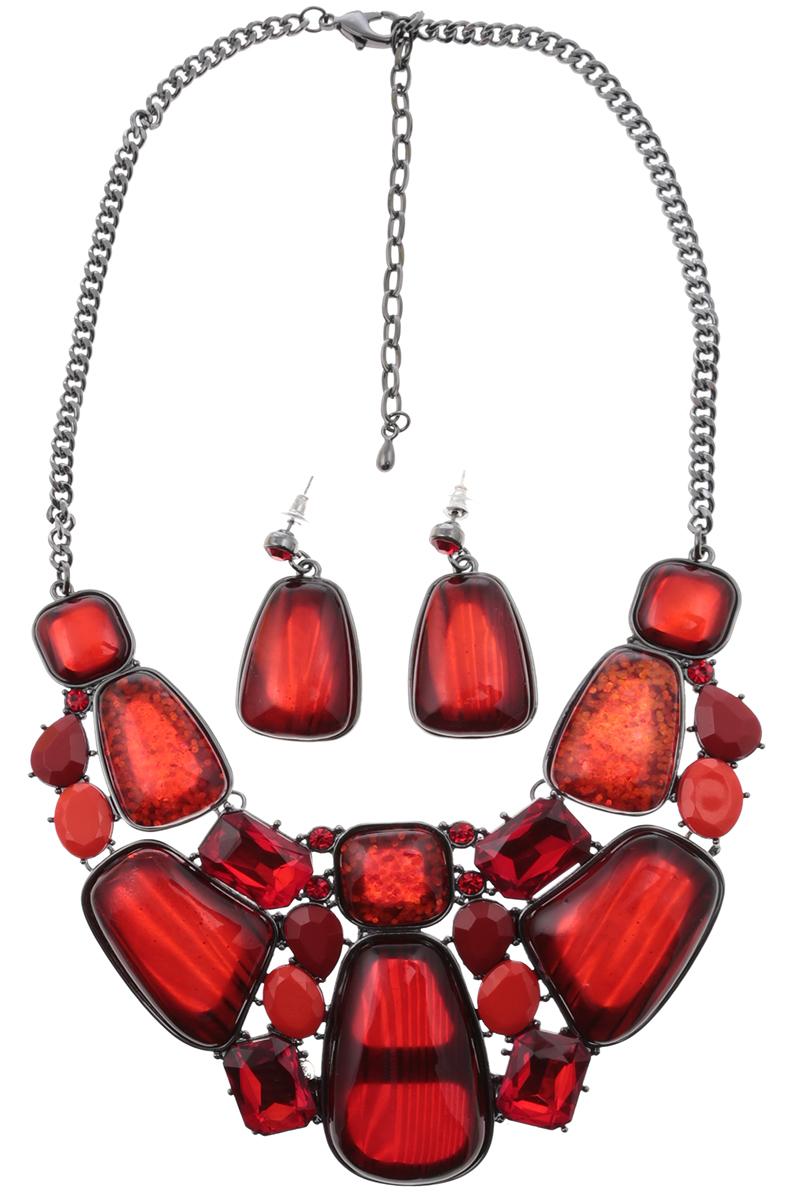 Комплект Кармен: ожерелье и серьги-пусеты от D.Mari. Ювелирный пластик, кристаллы рубинового цвета, бижутерный сплав серебряного тона. ГонконгПуссеты (гвоздики)Комплект Кармен: ожерелье и серьги-пусеты от D.Mari.Ювелирный пластик, кристаллы рубинового цвета, бижутерный сплав серебряного тона.Гонконг.Размер:Ожерелье - полная длина 37-46 см, размер регулируется за счет застежки-цепочки.Серьги - 4 х 2 см.