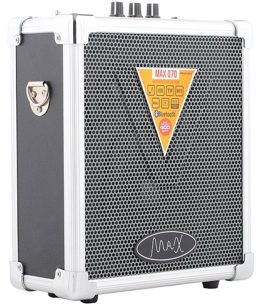 MAX Q70, Silver Black портативная акустическая система4630011250536Мощная многофункциональная портативная акустика MAX Q70. Воспроизводит музыку с USB/MicroSD. Соединяется с любым устройством обладающим Bluetooth. Работает на аккумуляторе до 10 часов. Воспроизводит громкое и качественное звучание. Подходит как для небольшого помещения так и для открытого пространства. Имеет удобный ремень для плеча.Эхо-эффектПоддержка форматов MP3, WMAFM приёмник 87.5-108.0 МГц