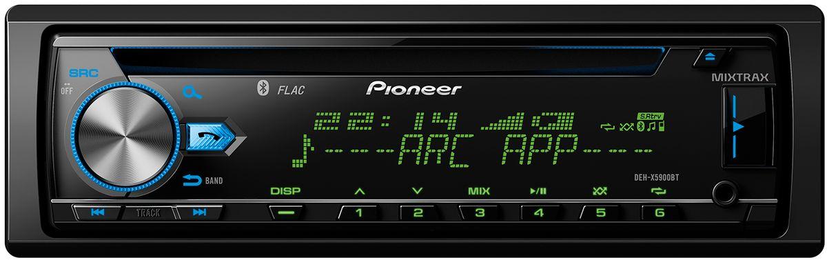 Pioneer DEH-X5900BT автомагнитола1025104Не приходится сомневаться, что Pioneer DEH-X5900BT - по-настоящему высокотехнологичная автомобильная аудиосистема. Она распознает FLAC-файлы, оборудована 13-полосным графическим эквалайзером и встроенным 4 х 50 Вт усилителем MOSFET. Благодаря опции Time Alignment, вы можете наслаждаться максимально высоким качеством звука, в каком бы автомобиле этот тюнер ни был установлен.CD-тюнер DEH-X5900BT полностью совместим со Spotify, как с бесплатными, так с Premium-аккаунтами. Просто подключите ваш смартфон с Apple iOS или Android и смело запускайте свои любимые плей-листы, альбомы, треки и исполнителей через DEH-X5900BT.Наличие Bluetooth обеспечивает возможность безопасно и удобно совершать звонки с помощью системы hands-free, а также беспроводного стриминга музыки с вашего смартфона. Благодаря уникальной технологии Pioneer Advanced Sound Retriever, качество звука будет максимально приближено к оригиналу. Вы можете даже подключить через Bluetooth два смартфона одновременно.