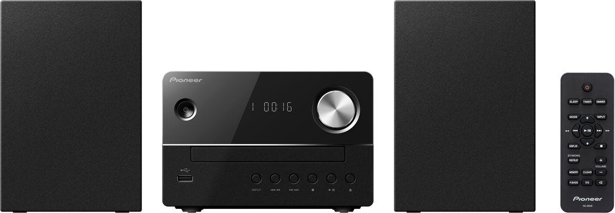 Pioneer X-EM16, Black музыкальный центр1500177Микросистема Pioneer X-EM16 суперкомпактна, а благодаря весу каждого компонента около одного килограмма она не окажется слишком тяжелой даже для не самых прочных полок – таким образом для CD-ресивера и обеих стереоколонок найдется подходящее место действительно в любой комнате.Простой и элегантный дизайн будет безупречно гармонировать с любым окружением. Помимо CD и FM-радио, модель X-EM 16 может также воспроизводить MP3-файлы с USB-флешек, а благодаря линейному входу систему даже можно расширить, подключив дополнительный аудиоплеер, например, портативный медиаплеер или сетевой плеер.Pioneer X-EM16 приятно удивляет звучанием, которое гораздо объемнее по сравнению с тем, как выглядит система, и гибко подстраивается под привычки слушателей с помощью эквалайзера с пятью предустановленными режимами и переключаемого режима P.Bass. Для спальни или гостиной рекомендуется дополнительное использование встроенных в систему функций спящего режима и таймера.