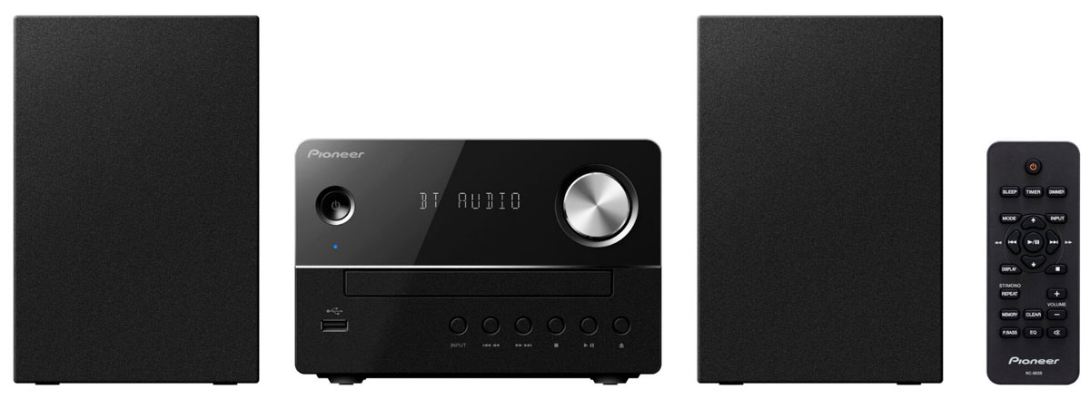Pioneer X-EM26, Black музыкальный центр1500221Микросистема Pioneer X-EM26 суперкомпактна, а благодаря весу каждого компонента около одного килограмма она не окажется слишком тяжелой даже для не самых прочных полок - таким образом для CD-ресивера и обеих стереоколонок найдется подходящее место действительно в любой комнате.Простой и элегантный дизайн будет безупречно гармонировать с любым окружением. Помимо CD и FM-радио, модель X-EM 26 может также воспроизводить MP3-файлы с USB-флешек, а благодаря линейному входу систему даже можно расширить, подключив дополнительный аудиоплеер, например, портативный медиаплеер или сетевой плеер.Вы можете осуществлять беспроводную потоковую передачу музыки со своего смартфона прямо на микросистему благодаря поддержке беспроводного интерфейса Bluetooth.Pioneer X-EM26 приятно удивляет звучанием, которое гораздо объемнее по сравнению с тем, как выглядит система, и гибко подстраивается под привычки слушателей с помощью эквалайзера с пятью предустановленными режимами и переключаемого режима P.Bass. Для спальни или гостиной рекомендуется дополнительное использование встроенных в систему функций спящего режима и таймера.