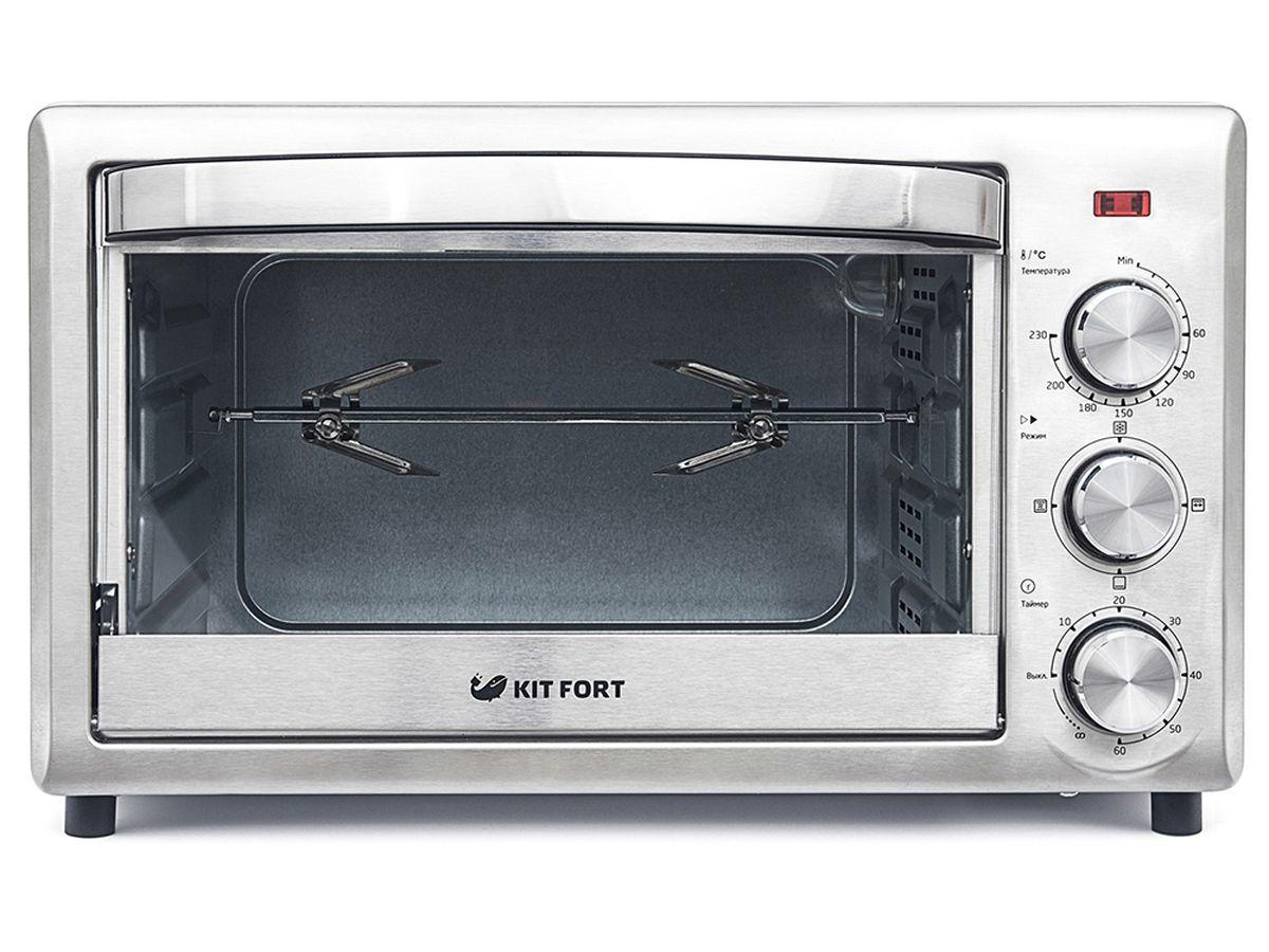 Kitfort КТ-1701 духовка электрическаяКТ-1701Электрическая духовка Kitfort КТ-1701 имеет небольшие размеры и позволяет готовить не только те же блюда, что и в обычной духовке, но и гораздо больше.Духовка Kitfort КТ-1701 оснащена двумя нагревателями (нижним и верхним) и позволяет включать их в любой из трех комбинаций: с нагревом сверху, снизу, одновременно сверху и снизу с конвекцией.В духовке можно приготовить мясо, курицу-гриль, тосты, пиццу, запечь или потушить овощи и рыбу, испечь хлеб, пирог, торт и другие изделия из теста. Вращающийся вертел позволяет приготовить 2,5 кг пищи.У электрической духовки Kitfort КТ-1701 процесс приготовления управляется при помощи надежной и простой механической системы управления с вращающимися ручками. В вашем распоряжении есть термостат до 230 оС, таймер со звуковым сигналом на 60 минут и переключатель режимов, дающий возможность выбрать один из четырех режимов приготовления: разморозка, гриль, выпечка, конвекция.Дверца духовки откидная — открывается «на себя» как в обычной духовке. Имеется встроенная подсветка, так что во время готовки вы можете наблюдать за процессом через прозрачное стекло в дверце.В комплекте есть все необходимое для готовки: противни, решетка и вертел.Корпус духовки выполнен из сатинированной нержавеющей стали, а ручки управления хромированы. Эти материалы долговечны, а их поверхности легко мыть. Дверца выполнена из закаленного стекла, а ручка дверцы — из теплоизоляционного материала, поэтому она не нагревается в процессе работы.