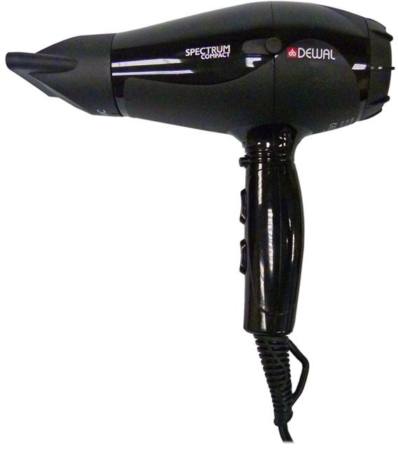 Dewal 03-109 Spectrum Compact, Black фен03-109 BlackФен Dewal 03-109 Spectrum Compact - самый мощный из компактных фенов Dewal. Его профессиональный мотор 2100 Вт создает мощный воздушный поток, который легко и быстро сушит волосы любого типа. Съемный воздушный фильтр позволяет своевременно чистить мотор фена от пыли. Генератор, встроенный в ручку фена, создает отрицательно заряженные частицы ионов, которые благотворно влияют на здоровье волос, а также нейтрализуют статическое электричество. Фен Dewal имеет 2 скорости, 3 температурных режима и кнопку мгновенного охлаждения. Таким образом можно выбрать индивидуальный режим сушки для каждого клиента.Мощный мотор - до 8 часов непрерывной работы;Высокая скорость воздушного потока. Корпус фена разработан с учетом оптимизации расхода воздуха;Защита от перегрева Stop-heat. Защитный механизм на нагревательном элементе фена охлаждает корпус, сохраняет мотор, защищая его от перегрева, а также поддерживает оптимальную температуру для волос.