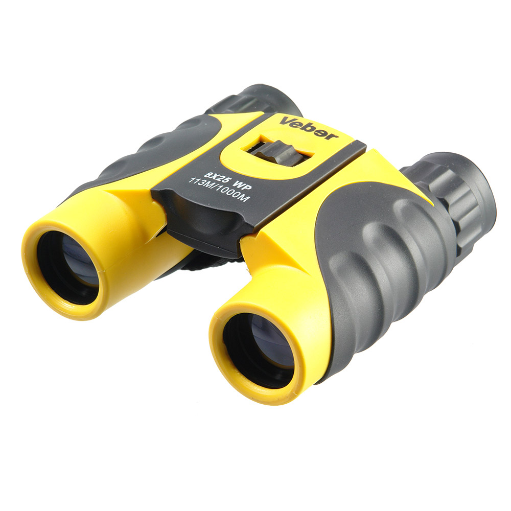 Бинокль Veber, цвет: черный, желтый, 8x25 WP20764Яркий, компактный, эргономичный, с азотным наполнением от запотевания оптики. Защита от ударов и небрежного обращения, допускается кратковременное погружение в воду. Качественная картинка без искажений.<br <br ОПИСАНИЕ <br Бинокль увеличением 8-крат. Специальная компактная модель для любителей активного образа жизни, азотное заполнение. Ярко-желтый бинокль не затеряется ни в зеленой траве ни на берегу озера. Veber WP 8x25 хорошо смотрится как в руках горнолыжника, так и в руках яхтсмена.<br Внутренняя оптика бинокля не запотеет при переходе из тепла в холод. Не боится влажности, тумана, дождя, выдерживает краткосрочные погружения в воду.<br Толстая резина корпуса защитит оптику от ударов.<br С биноклем просто и комфортно работать. Фокусировку и диоптрийную подстройку окуляра можно проводить даже в перчатках.<br Качество картинки значительно выше среднего.<br <br Особенности<br Влагозащищенный<br Roof призмы <br Обрезиненный корпус<br Многослойное оптическое просветление<br Азотонаполненный<br Компактный<br <br Комплектация<br Бинокль<br Чехол для переноски<br Ремешок <br Ткань для протирки оптики<br Руководство по эксплуатации и гарантийный талон<br <br Характеристики<br Диаметр выходного зрачка, мм 3.1<br Угловое поле зрения, град. 8.2<br Увеличение, крат 8 <br Zoom нет<br Диаметр объектива, мм 25<br Линейное поле зрения (на расстоянии 1000 м), м 113<br Габаритные размеры, мм 107*109<br Вес, кг 0.380<br Цвет черный/желтый<br Материал корпуса металл<br Материал отделки корпуса обрезиненный корпус<br Бинокль прошел индивидуальную настройку в сервисном центре компании, о чем свидетельствует наклейка с фамилией или номером мастера на корпусе прибора.