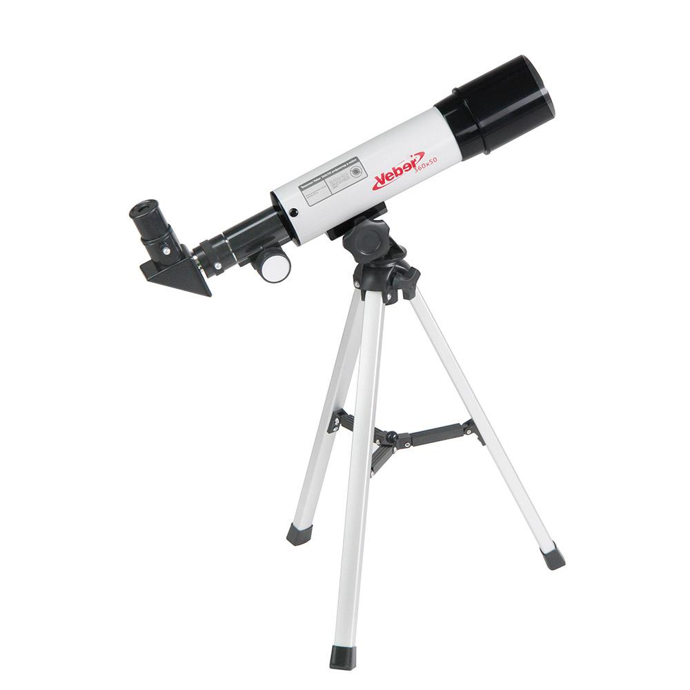 Veber 22980, White телескоп22980Veber 22980 - отличный подарок для вашего ребенка! Возможно, он станет первым научным прибором в его жизни. Его можно использовать и днем и ночью. Днем — как обычную подзорную трубу, а ночью, естественно, по прямому назначению. Телескоп дает прямое (не перевернутое) изображение.Что можно в него увидеть? В него можно увидеть лунные кратеры диаметром больше 10 км, Марс, Сатурн и фазы Венеры. С помощью сменных окуляров, можно получить увеличение от 18х до 90х. Окулярная часть с 90° зеркалом позволяет удобно вести наблюдение, разместив прибор просто на столе (высота штатива 360 мм). Наблюдения днем лучше вести при увеличении 18х (с окуляром 20 мм), тогда ближняя точка фокусировки будет около 5 метров.Прибор удобно укладывается в противоударный двухслойный кейс для переноски. Сборка занимает не больше трех минут. Так с ним удобнее выезжать загород, где и небо чище и лучше видны звезды и окружающие пейзажи.