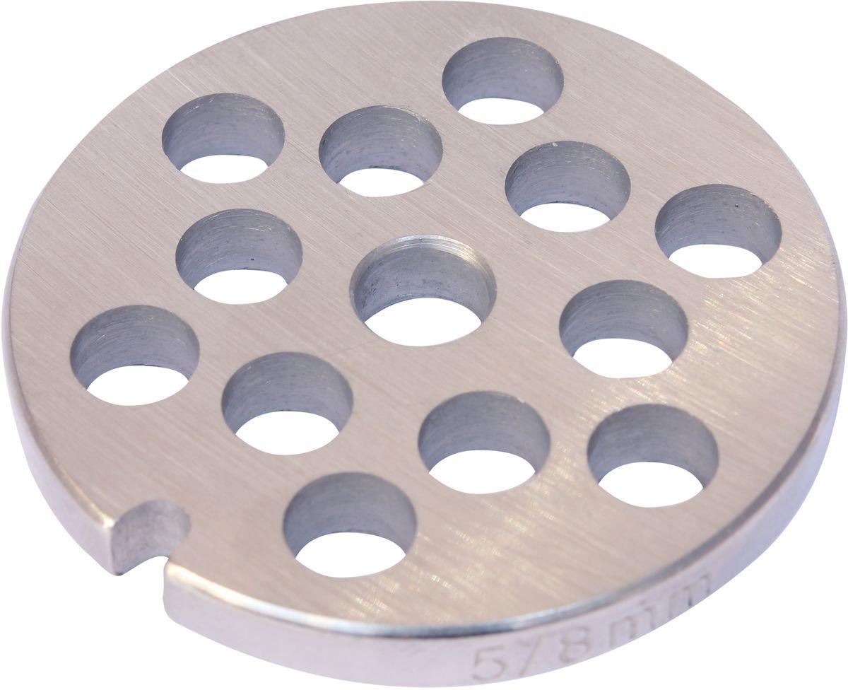 Euro Kitchen EUR-GR-8 Braun решетка для мясорубкиEUR-GR-8 BraunРешетка Euro Kitchen EUR-GR-8 предназначена для работы с электрическими мясорубками марки Braun. Она с легкостью заменит фирменную деталь, не уступив ей по качеству и сроку службы. Высокая производительность и долгий срок службы современных электрических и ручных мясорубок зависят, в первую очередь, от режущих механизмов и их выработки. Своевременная профилактика и замена режущих и вспомогательных элементов способствуют уменьшению нагрузки на узлы и другие механизмы, гарантируя долгую и качественную работу вашей мясорубки. Диаметр отверстий в решетке: 8 мм.Диаметр решетки: 5,2 см.Диаметр входного отверстия в шнек: 0,9 мм.Ширина решетки: 0,5 мм.