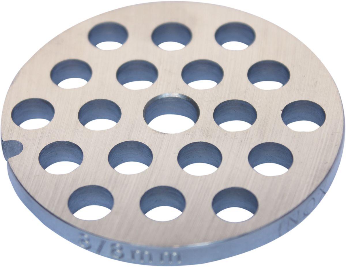Euro Kitchen EUR-GR-8 Cameron решетка для мясорубкиEUR-GR-8 CAMERONРешетка Euro Kitchen EUR-GR-8 предназначена для работы с электрическими мясорубками марки Cameron. Она с легкостью заменит фирменную деталь, не уступив ей по качеству и сроку службы. Высокая производительность и долгий срок службы современных электрических и ручных мясорубок зависят, в первую очередь, от режущих механизмов и их выработки. Своевременная профилактика и замена режущих и вспомогательных элементов способствуют уменьшению нагрузки на узлы и другие механизмы, гарантируя долгую и качественную работу вашей мясорубки. Диаметр отверстий в решетке: 8 мм