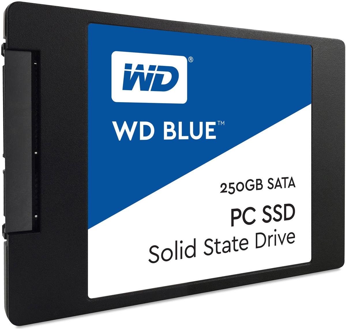 WD Blue 250GB SSD-накопитель (WDS250G1B0A)WDS250G1B0AТвердотельный накопитель WD Blue отличается высоким быстродействием и обеспечивает эффективное хранение данных наряду с высокой скоростью передачи и ведущей в отрасли надежностью.Оптимизированные для параллельного выполнения нескольких задач твердотельные накопители WD Blue позволяют с легкостью запускать несколько ресурсоемких приложений одновременно.Твердотельные накопители WD Blue доступны в формфакторах 2,5 дюйма (7 мм) и M.2 2280 для самых тонких и компактных компьютеров, что позволяет комплектовать ими большинство ноутбуков и настольных ПК. Доступная для скачивания панель мониторинга твердотельных накопителей WD содержит набор инструментов, с помощью которых можно в любой момент проверить работоспособность твердотельного накопителя.Благодаря сертификации WD F.I.T. Lab на совместимость с широким спектром ноутбуков и настольных ПК вы можете быть полностью уверены, что накопитель WD Blue подходит вам идеально.На каждый твердотельный накопитель WD Blue предоставляется 3-летняя ограниченная гарантия, которая застрахует ваш накопитель WD при хранении любых данных.