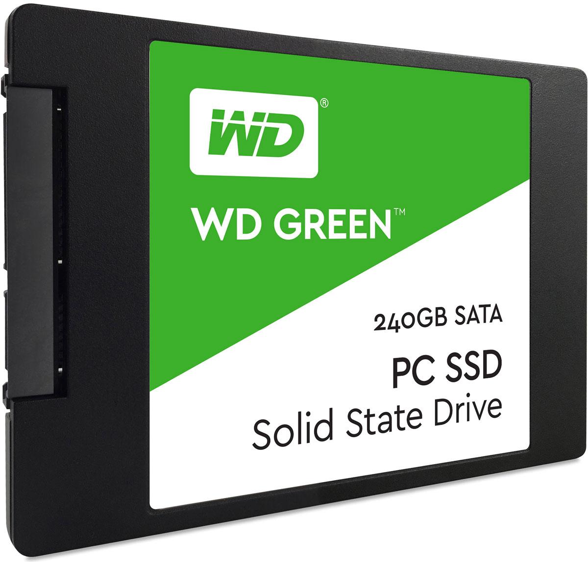 WD Green 240GB SSD-накопитель (WDS240G1G0A)WDS240G1G0AБлагодаря высокому быстродействию и надежности твердотельных накопителей WD Green повседневные задачи на ноутбуках и настольных ПК выполняются значительно быстрее.Благодаря высокому быстродействию за счет использования в WD Green твердотельного SATA-накопителя просмотр веб-страниц, игры или просто запуск системы будут происходить в мгновение ока.Легкие и ударостойкие твердотельные накопители WD Green не содержат подвижных частей, благодаря чему данным не страшны случайные удары или падения накопителя.Твердотельные накопители WD Green - одни из самых экономных накопителей в отрасли. Благодаря низкому потреблению энергии ноутбук сможет проработать дольше.Доступная для скачивания панель мониторинга SSD-накопителей WD предоставляет набор инструментов, с помощью которых можно в любой момент проверить доступную емкость, работоспособность, температуру, атрибуты SMART и другие параметры своего твердотельного накопителя.На каждый твердотельный накопитель WD Green предоставляется 3-летняя ограниченная гарантия, которая застрахует ваш накопитель WD при хранении любых данных.