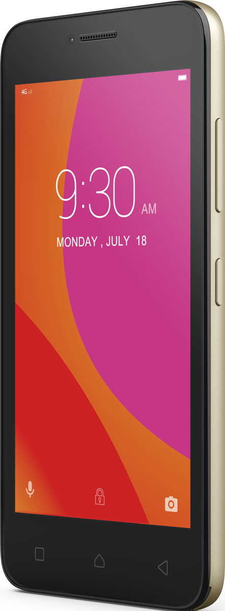 Lenovo B (A2016a40), GoldPA4R0152RUВпусти в свою жизнь Lenovo B - компактный, доступный и высокопроизводительный смартфон. Почувствуй мощность четырехъядерного процессора; путешествуй по сети, играй в любимые игры и смотри потоковое видео на скорости 4G. Этому смартфону под силу любые задачи.Благодаря весу всего 144 грамма, скругленным углам корпуса и текстурированной задней панели это устройство приятно держать в руке, и оно отлично поместится в карман. Компактный смартфон оборудован 4,5-дюймовым сенсорным экраном, на котором удобно пролистывать страницы в дороге, а также играть и смотреть фильмы.Уровень производительности имеет значение, даже если ты просматриваешь веб-страницы или делишься фото с друзьями. Благодаря высокоскоростному 64-разрядному четырехъядерному процессору с частотой 1,0 ГГц Lenovo B обеспечивает оптимальное сочетание производительности и мощности, даже в условиях одновременной работы сразу с несколькими приложениями.Обнови статус в социальных сетях быстрее, чем успеешь произнести слово друзья. Смартфон Lenovo B поддерживает высокоскоростные сети передачи данных LTE (4G). Ты сможешь в полной мере насладиться просмотром веб-страниц и потокового видео, играми и онлайн-чатами.Новая версия Android отличается возможностями, которые упростят твою жизнь. Установи кнопки быстрого доступа к важной информации внутри приложений. Также тебя порадуют и изменения, которые позволяют сэкономить заряд аккумулятора для самых важных задач.Lenovo B превосходно впишется в твою динамичную и насыщенную событиями жизнь. Литий-ионный аккумулятор 2000 мАч обеспечивает до 11,3 часа работы в режиме разговора и до 7,3 дня в режиме активного ожидания при подключении к сети 4G, а это значит, что ты сможешь пользоваться смартфоном без подзарядки больше суток. А если аккумулятор все-таки сядет, ты сможешь просто заменить его на запасной с полным зарядом и продолжить заниматься своими делами.Один смартфон, два телефонных номера. Хочешь сэкономить на тарифах за мобильную связь, 