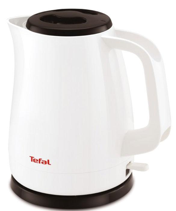 Tefal KO150130 чайникKO150130Электрический чайник Tefal KO150130 прост в управлении и долговечен в использовании. Изготовлен из высококачественных материалов, имеет внутренний индикатор воды и светоиндикатор включения, а фильтр препятствует попаданию накипи в воду. Мощность 2200 Вт позволит вскипятит 1,5 литра воды в считанные минуты. Беспроводное соединение позволяет вращать чайник на подставке на 360°. Съемная крышка.