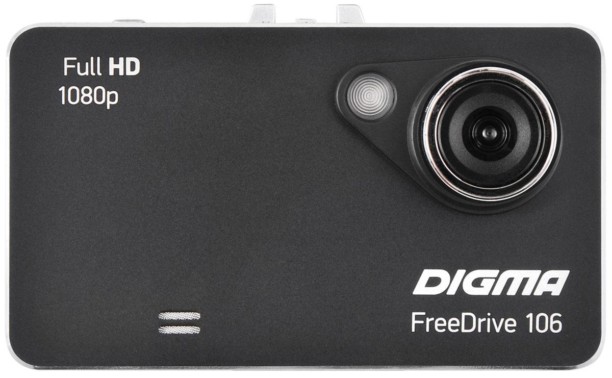 Digma Freedrive 106, Black видеорегистраторFREEDRIVE 106Видеорегистратор Digma FreeDrive 106 отличается удобной конструкцией: все кнопки управления вынесены на тыльную сторону.Данная модель оснащена широкоугольным объективом (с углом обзора 120°), динамиком и микрофоном, что гарантирует запись полной картины в любой дорожной ситуации.Регистратор Digma FreeDrive 106 записывает видео в Full HD-качестве (1080p) и оборудован датчиками движения и удара. Поддержка карт памяти формата microSD объемом до 32 ГБ обеспечивает бесперебойную съемку и дальнейшее хранение файлов. Видеорегистратор питается от автомобильного прикуривателя или встроенного резервного аккумулятора емкостью 240 мАч.Процессор: GP1248