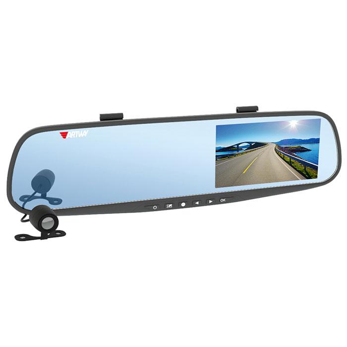 Artway AV-600, Black видеорегистратор-зеркало4620019033323Видеорегистратор в зеркале заднего вида Artway AV-600 позволяет сделать устройство незаметным в салоне автомобиля, а также реализовать дополнительные функции. А выносная камера может быть использована как парковочная. В результате водитель получает многофункциональное устройство, объединяющее в себе видеорегистратор с двумя камерами, помощник для парковки и усовершенствованное зеркало заднего вида.Большой и яркий дисплей диагональю 4,3 с высоким разрешением позволит вам с комфортомпросмотреть отснятые видеоролики на самом видеорегистраторе, разглядеть все детали или c удобством управлять настройкой видеорегистратора.Водонепроницаемая камера не боится дождя, снега и слякоти, поэтому может быть установлена с внешней стороны автомобиля, например, под номерным знаком: камера не испортится и не сломается. Умный процессор видеорегистратора запишет видеофайлы с передней и с выносной водонепроницаемой камеры заднего вида в разные папки для удобства дальнейшего просмотра.Установленное в салоне устройство выглядит как обычное зеркало и остается неприметным с улицы. Водитель может оставить прибор в салоне, не беспокоясь за сохранность автомобиля и устройства, и не тратить время на снятие и установку прибора.Модель AV-600 оснащена вспомогательной системой для безопасной парковки автомобиля при движении задним ходом. Система включается автоматически: при включении заднего хода, изображение на мониторе отображается зеркально, что соответствует ориентации изображения в самом зеркале. Система позволяет определить допустимое расстояние до препятствия с помощью позиционных линий, накладываемых на изображение с видеокамеры, что существенно облегчает парковку автомобиля.Режим парковки обеспечивает включение автоматической записи в случае происшествия во время стоянки автомобиля. Датчики удара G-сенсор, встроенные в видеорегистратор, включают камеру в момент произведения каких-либо действий вокруг машины (удар, столкновение). На 