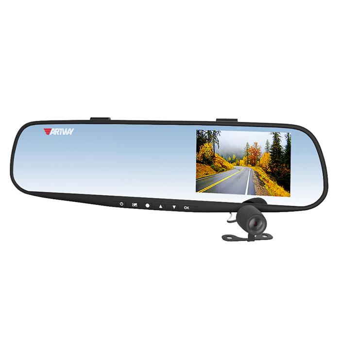 Artway AV-601, Black видеорегистратор-зеркало4620019033491Artway AV-601 – автомобильный видеорегистратор и зеркало заднего вида. Он устанавливается на штатное внутреннее (салонное) зеркало автомобиля при помощи специальных креплений.Большой и яркий дисплей диагональю 3,5 с высоким разрешением позволит вам с комфортомпросмотреть отснятые видеоролики на самом видеорегистраторе, разглядеть все детали или c удобством управлять настройкой видеорегистратора.Водонепроницаемая камера не боится дождя, снега и слякоти, поэтому может быть установлена с внешней стороны автомобиля, например, под номерным знаком: камера не испортится и не сломается. Умный процессор видеорегистратора запишет видеофайлы с передней и с выносной водонепроницаемой камеры заднего вида в разные папки для удобства дальнейшего просмотра.Установленное в салоне устройство выглядит как обычное зеркало и остается неприметным с улицы. Водитель может оставить прибор в салоне, не беспокоясь за сохранность автомобиля и устройства, и не тратить время на снятие и установку прибора.Модель AV-600 оснащена вспомогательной системой для безопасной парковки автомобиля при движении задним ходом. Система включается автоматически: при включении заднего хода, изображение на мониторе отображается зеркально, что соответствует ориентации изображения в самом зеркале. Система позволяет определить допустимое расстояние до препятствия с помощью позиционных линий, накладываемых на изображение с видеокамеры, что существенно облегчает парковку автомобиля.Видеорегистратор записывает короткие видеоролики длительностью 1, 2, 3 или 5 минут на карту памяти. В зависимости от объема, карта памяти будет заполнена через 5 -10 часов. Чтобы не стирать старые файлы вручную, процессор видеорегистратора сам будет стирать самые старые по дате и времени файлы, заменяя их новыми. Выбрать длительность видеоролика - 1, 2, 3 или 5 минут - можно самостоятельно, зайдя в настройки меню.Штамп даты и времени в кадре. Это позволяет установить дату и время в фа